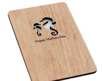Mother and Baby Seahorse Wood Laser-Cut Card