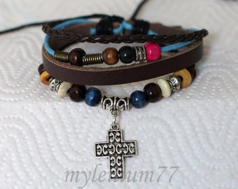 274 Women's brown leather bracelet Cross bracelet Charm bracelet Beads bracelet Christian bracelet Religious jewelry For women and girls
