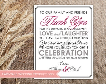 Personalized Thank You Sign Wedding Reception Decor - Elegant Fancy Calligraphy Script Monogram - 4x6, 5x7, 8x10 DIY Digital Printable