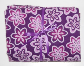 Pack n Play Fitted Cotton FLANNEL Sheet - Purple flower bursts