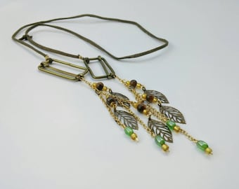 Bohemian Leather Necklace with Brass Leaf Charms, Fancy Jasper and Glass Beads