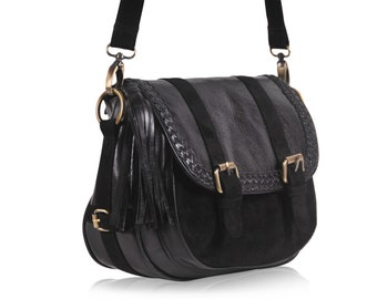 EVERMORE SMALL. Black leather purse / crossbody leather purse / leather messenger bag women. Available in different leather colors