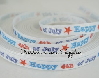 "3/8"" Ribbon by the Yard-Red White Blue printed 4th of July grosgrain-USA hair bows, sewing by Ribbon Lane Supplies on Ets"