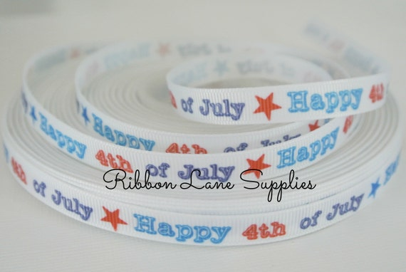 Quot ribbon by the yard red white blue printed th of july