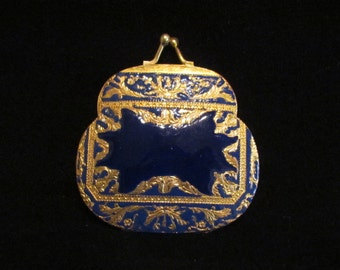 Antique Powder and Mirror Compact Victorian Compact Purse Shaped Blue Enamel w/ Gold Gilt and Gold Plate Made in Italy Excellent Condition