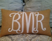 Monogrammed Burlap Pillow Cover- COVER ONLY