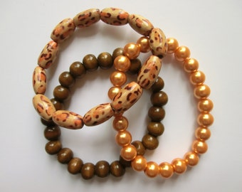 Wood/Pearl Stretch Bead Bracelet (Set of 3)- Leopard and Brown Wood with Gold Faux Pearl