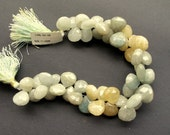 376 cts Natural moss aquamarine bead strand, 8 inches, faceted heart shaped, 11-13mm