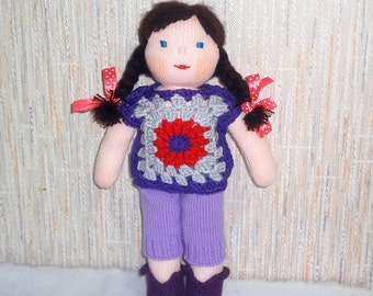 Handmade Doll with Brown Hair in Clothes Suit