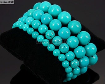 Natural Handmade Stabilized Turquoise Gemstone Size 6mm 8mm 10mm Round Beads Stretchy Bracelet Healing Jewelry Design and Crafts