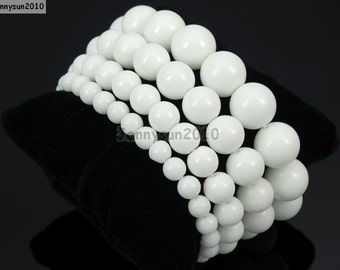 Natural Handmade White Alabaster Gemstone Size 6mm 8mm 10mm 12mm Round Beads Stretchy Bracelet Healing Jewelry Design and Crafts