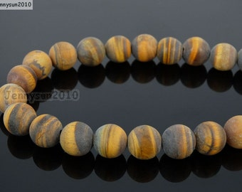 Natural Matte Tiger's Eye Frosted Gemstones 4mm 6mm 8mm 10mm 12mm Round Loose Spacer Beads 15'' Strand Jewelry Design