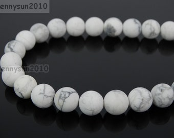Natural Matte White Howlite Frosted Gemstones 4mm 6mm 8mm 10mm 12mm Round Loose Spacer Beads 15'' Strand Jewelry Design