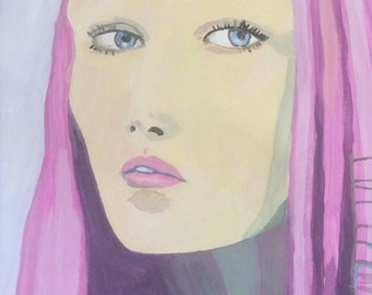 original painting, gouache, female portrait painting, a3 format, large scale, model face, contemporary art
