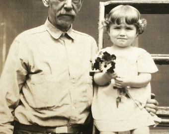 Grandfather on 73rd Birthday & Betty May Antique Photo