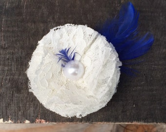 Something Royal Blue & Lace Hair Accessory/Brooch