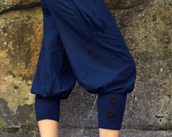 Pedal Pusher-Summer Capri-Ladies pants-short pants-capris-athletic pants-casual women's pants-loose fit pants-cotton clothing-navy blue pant