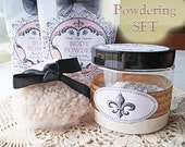 LAST One IN This Style! Larger Size REFILLABLE Powder Jar Powdering Set (powder, powder puff, powder refill, sifter disc)