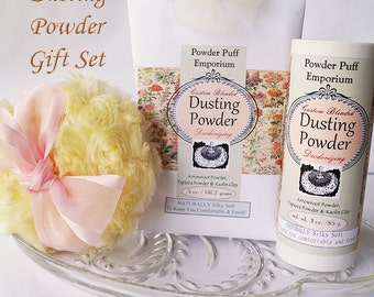 Dusting Powder Gift Set (Puff, Refillable Shaker, Powder Refill, Funnel, and gift box)  VINTAGE FLORAL