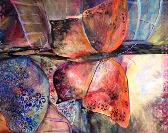 Original art, acrylic, large painting, contemporary art, abstract,  realism art, garden, butterflies