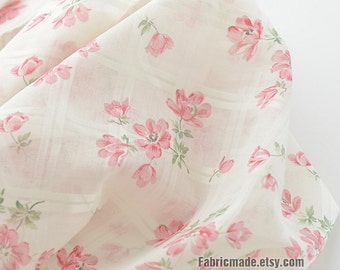 Floral Cotton Fabric, Light Pink Flower On Off White Gauze Cotton Light Weight Sheer-  1/2 Yard