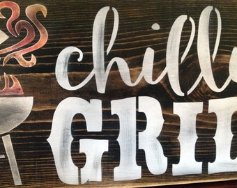 Chillin and Grillin BBQ sign, wood, primitive, father's day, patio signs, barbeque , porch decor, holidays, outside decor, man cave,  pool