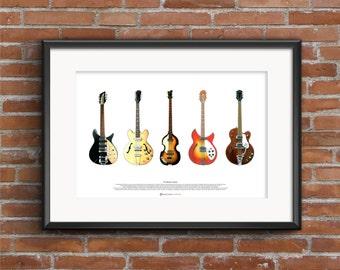 The Beatles' Guitars - ART POSTER A2 size