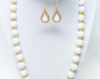 White Round Acrylic Bead w/Gold Plated Rondelle Crystal Rhinestones Necklace & Earrings Set