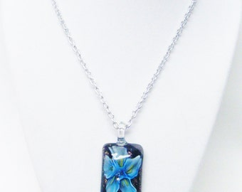 """Dichroic Glass Lamp Work Flower Rectangle Pendant Necklace  (19.5"""", no stone)"""