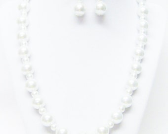Mixed Sizes Ivory Glass Pearl Necklace/Bracelet & Earrings Set
