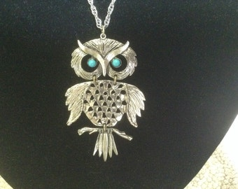 Vintage Owl Necklace with Turquoise  Eyes