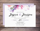 Printable Watercolor Floral Wedding Invitation Suite, Spring Flowers, Modern, Invites, DiY Printable Option, Print at Home - Jessica