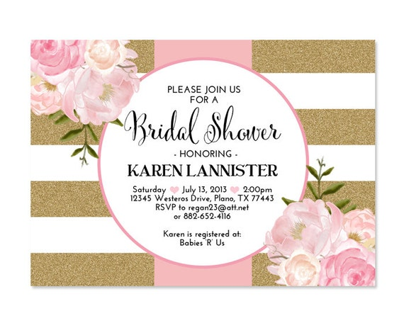 Pink Gold Glitter Bridal Shower Invitation Stripes Floral ...