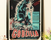 25% OFF Japanese Godzilla Cyan - Vintage Japan paper Dictionary Print