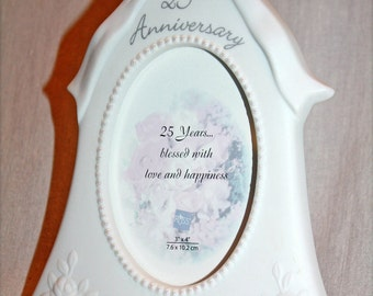 Never used RUSS Bell Shaped White Ceramic 25th Anniversary photo frame, vintage, pearled; Silver Wedding Anniversary photo frame