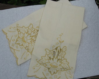 Vintage Linen Finger Tip Towels Pale Yellow Embroidery and Cut Out (New Old Stock) 1960's, Great New Condition See tag in third picture