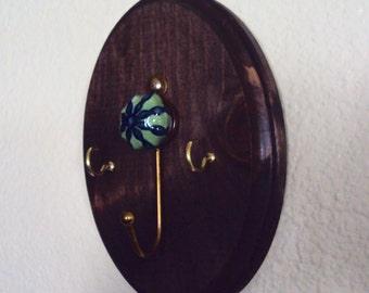 Rustic Chic Key Hook - Bohemian Wall Hook - Rustic Decor - Wooden Wall Key Hanger - Decorative Jewelry Holder - Rustic Wood Boho Decor