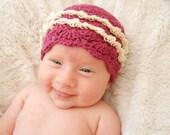 Organic Baby Hat Girls Crochet Beanie Raspberry and Cream Purple Cloche with Cream Ruffles 0 to 3 months Cute Easter Hat