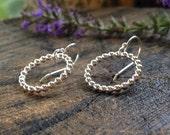 Beaded Circle Sterling Silver Earrings. Everyday Round Earrings. Dangle Hoop. 3/4 inch diameter. Simple Modern Dot Design.