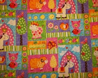 BABYS FARM PATCHES   pattern  1 Yard - 100% Cotton Very Cute Fabric