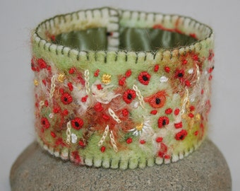 Embroidered Cuff - Poppies in a Corn Field Felted and stitched by Lynwoodcrafts