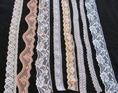 Lace Sewing Trim Pieces - Assorted Designs Patterns - 8 Yards Plus