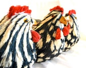 French Country Rooster Entertaining Centerpiece Serving Item, Black White Red, Wicker Lined Removable Baskets