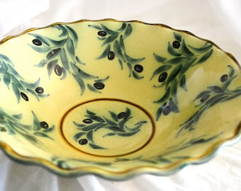 Barocco Valbonne Fait Main Serving Bowl, Yellow Olive Vine Pattern, France