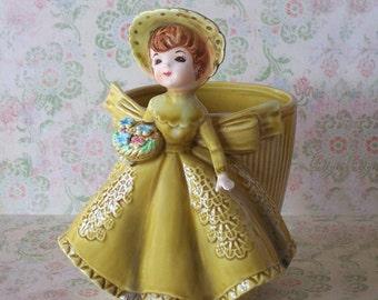 Vintage Lefton Girl in Gold Green Dress & Flowers Planter Pot