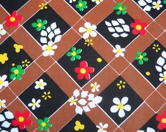 SALE--Retro Fabric, Groovy Flowers, Black and Brown Diamond Background, Over Two Yards