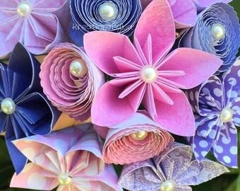 ENCHANTED- Paper Flower Bouquet / Paper Bridal Bouquet, Kusudama, Origami Bouquet, Flower Arrangement, Wedding