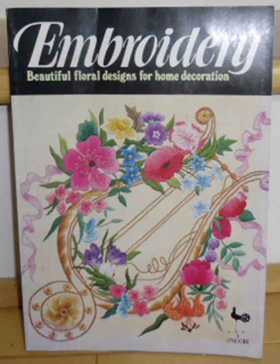 Vintage book embroidery beautiful floral designs for home