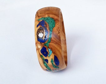 Wood Bangle with Turquoise, Lapis and Malachite