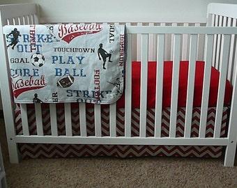 Bumperless Sports Theme Crib Set